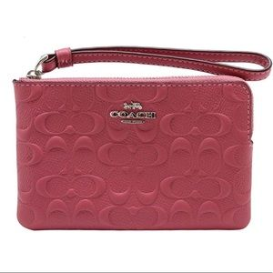Coach Strawberry Embossed Signature Wristlet NWT